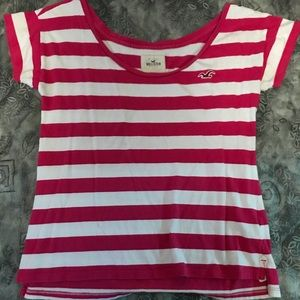 Hollister pink and white stripped T-shirt
